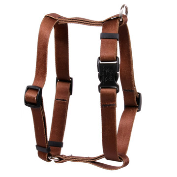 """Solid Brown Roman Style """"H"""" Dog Harness"""