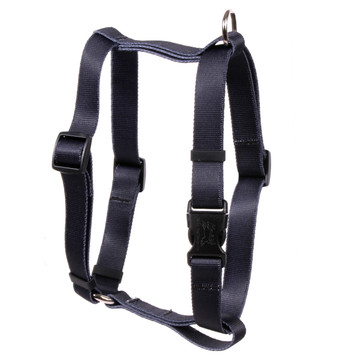 """Solid Black Roman Style """"H"""" Dog Harness"""