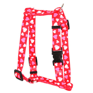 """Red Hearts Roman Style """"H"""" Dog Harness"""