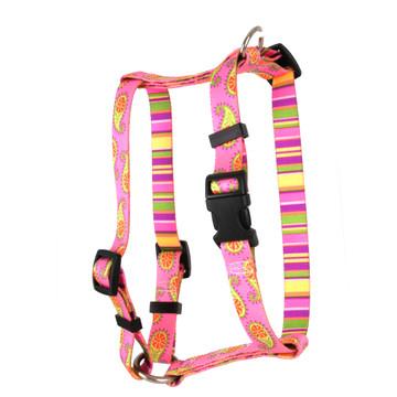 "Pink Paisley Roman Style ""H"" Dog Harness"