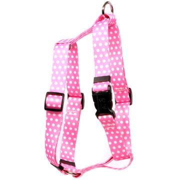"New Pink Polka Dot Roman Style ""H"" Dog Harness"