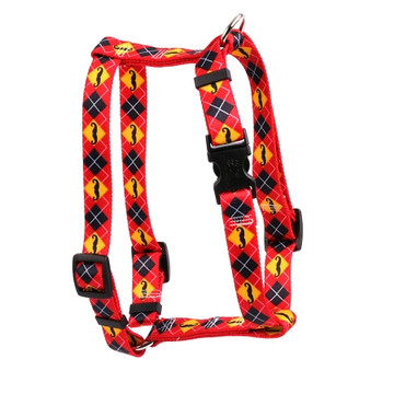 "Mustaches With Argyle Roman Style ""H"" Dog Harness"