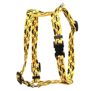 """Mustaches On Yellow Roman Style """"H"""" Dog Harness"""