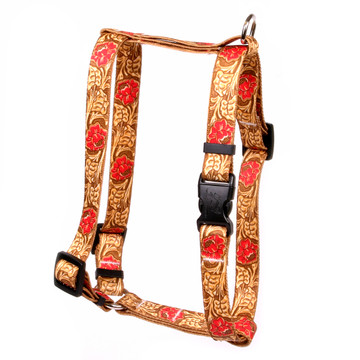"Leather Rose Red Roman Style ""H"" Fabric Dog Harness"