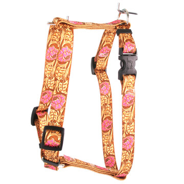 """Leather Rose Pink Roman Style """"H"""" Fabric Dog Harness"""
