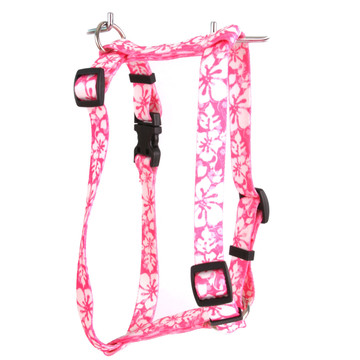 """Island Floral Pink Roman Style """"H"""" Dog Harness"""