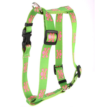 "Green and Pink Skulls Roman Style ""H"" Dog Harness"