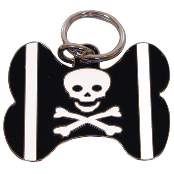 BLACK Skull & Crossbones BONE Shaped Engraved Pet ID Tag