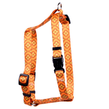 "Cleo Orange Roman Style ""H"" Dog Harness"