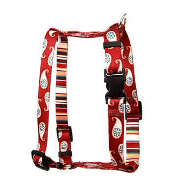 "Burgundy Paisley Roman Style ""H"" Dog Harness"