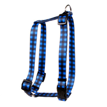 "Buffalo Plaid Blue Roman Style ""H"" Dog Harness"