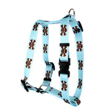"Blue and Brown Skulls Roman Style ""H"" Dog Harness"
