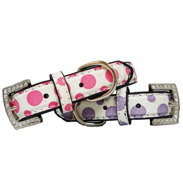 Shimmer Dots Polka Dot Dog Collar