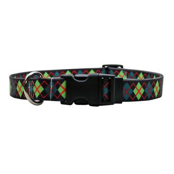 Green Argyle Dog Collar