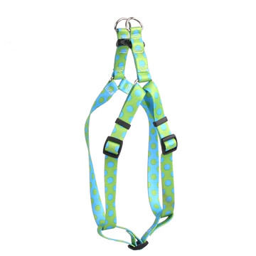 Green and Blue Polka Dot Step-In Dog Harness