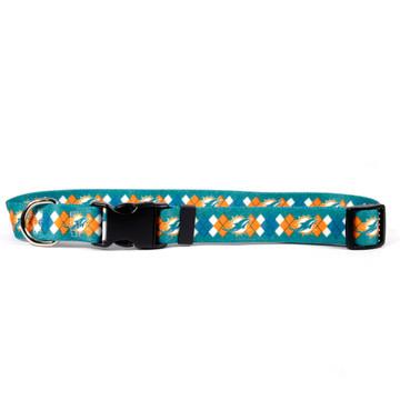 Miami Dolphins Argyle Dog Collar