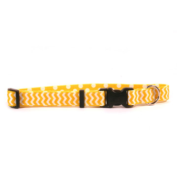 Lemon Chevron on Polka Grosgrain Ribbon Collar