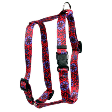 """Red Lace Flowers Roman Style """"H"""" Dog Harness"""