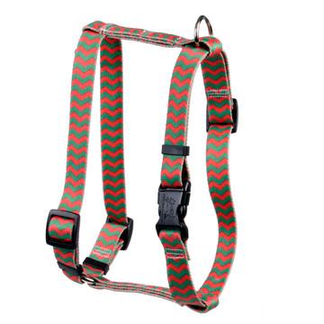 "Christmas Chevron Stripe Roman Style ""H"" Dog Harness"