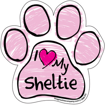 I Love My Sheltie PINK Scribble Paw Magnet