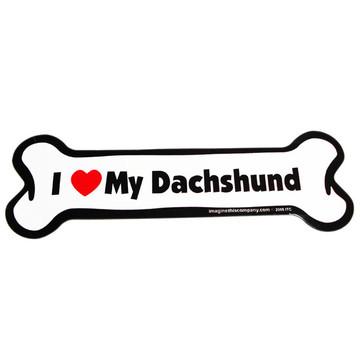 I Love My Dachshund Bone Magnet