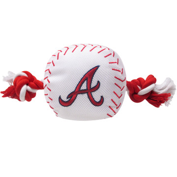 Atlanta Braves Nylon Rope Baseball Squeaker  Dog Toy
