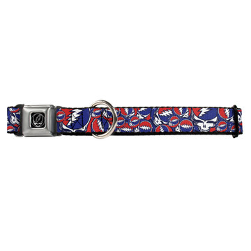 Steal Your Face Red White and Blue Buckle-Down Seat Belt Buckle Dog Collar