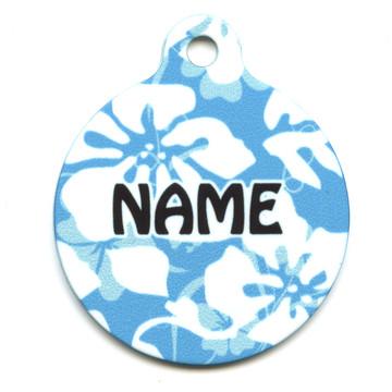 Island Floral Blue HD Pet ID Tag