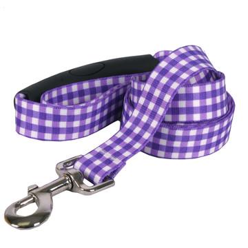 Southern Dawg Gingham Purple Premium Dog Leash
