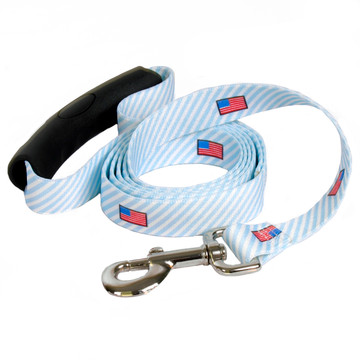 Southern Dawg Seersucker Blue with American Flags Premium Dog Leash
