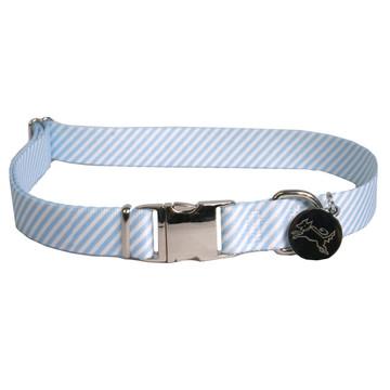 Southern Dawg Seersucker Light Blue Premium Dog Collar