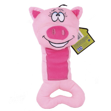 Plush Pig Dog Tug Toy With Squeaker