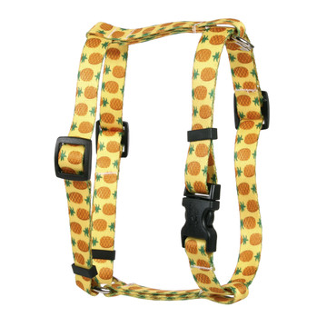 Pineapples Yellow Roman Style H Dog Harness
