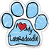 I Love My Labradoodle BLUE Scribble Paw Magnet