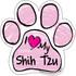 I Love My Shih Tzu PINK Scribble Paw Magnet