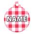 Red Gingham Plaid HD Pet ID Tag