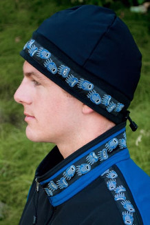ARCTIC HAT / (Hybrid) / Solid Black,  /  Bear Tracks-Blue (trim)