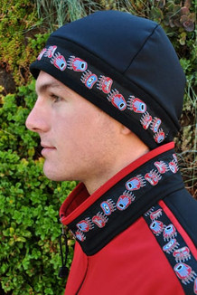 ARCTIC HAT / (Hybrid) / Solid Black,  /  Bear Tracks-Red (trim)