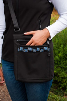 SHOULDER BAG / (Softshell) / Black,  / Bear Tracks-Blue (trim)