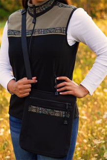 SHOULDER BAG / (Softshell) / Black,  / Totem-Tan (trim)