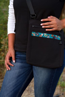 SHOULDER BAG / (Softshell) / Black,  / Alaska Chatter-Teal (trim)