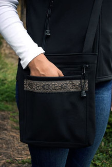 SHOULDER BAG / (Softshell) / Black,  / Fleur de Lis (trim)