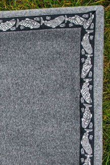 Blanket - 5' x 5'  / (Double-Sided Thermal Fleece) / Charcoal Heather / Salmon-Grey (trim)