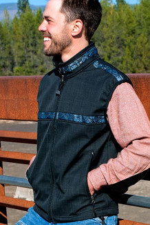 MEN'S KODIAK VEST / (Softshell) /  Solid Raven, / Totem-BlueGrey (trim)