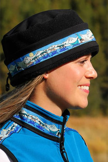 AURORA HAT / (Softshell) / Solid Black,  / Race Is On-Teal (trim)