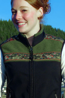 WOMEN'S KODIAK VEST / - SALE - CLOSEOUT - / (Hybrid) / Black, Sage Tweed, / Fancy Fish trim (gold metallic)