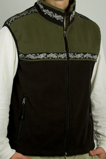 MEN'S KODIAK VEST / - SALE - CLOSEOUT - / (Windblock Fleece) / Black, Sage, / Salmon-Grey (trim)