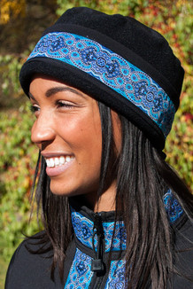 AURORA HAT / (Softshell) / Solid Black,  / Tres Belle-Blue(trim)
