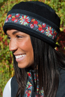 AURORA HAT / (Softshell) /   Raven, Black,  / Midnight Blossom (trim)
