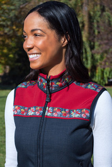 WOMEN'S KODIAK VEST / (Softshell) /  Raven, Scarlet, / Midnight Blossom (trim)